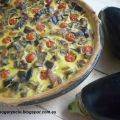 QUICHE DE BERENGENAS, TOMATES CHERRY Y BACON.