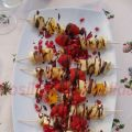 Brochetas de fruta al chocolate