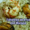 Tallarines de arroz con marisco